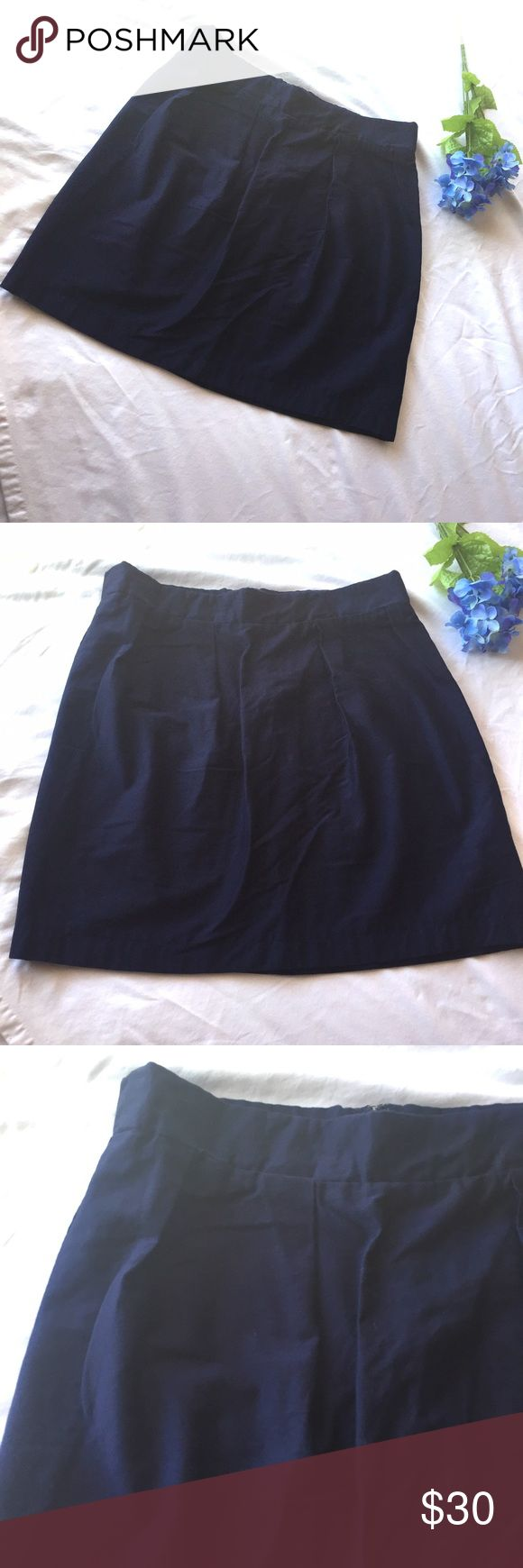 """Frill Clothing Charlotte Skirt SZ 18 Shark Tank Navy blue skirt by Frill Clothing, the One Stop Sorority Shop. Tagged size 18; please note these measurements: Waist flat across  """" Waist circumference 37.5"""", Length  """" hip 47.5"""". This would be small for a standard size 18. I believe this is the Charlotte Skirt. Waistband measures 2"""". Sits at the natural waist. Concealed rear zipper.  This company, Frill Clothing, was featured on an episode of Shark Tank. Frill Clothing Skirts Mini"""