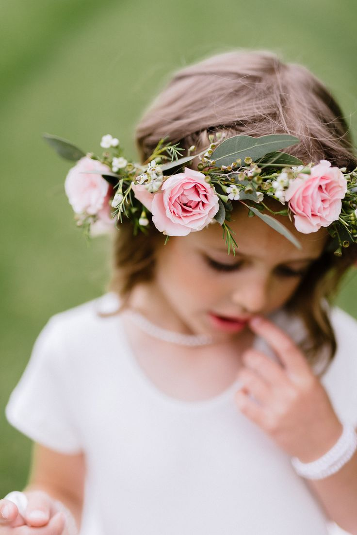 Flower girl with garden style floral crown