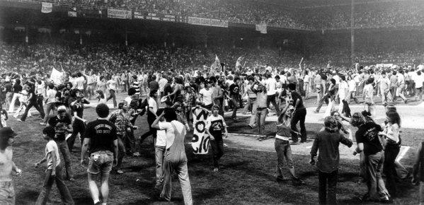 1979: Disco Demolition Night  ( Chicago Tribune archive photo / June 15, 2012 ). More vintage photos: http://www.redeyechicago.com/news/redeye-vintage-photos-80-years-of-old-comiskey-park-20120613,0,2687993.photogallery#