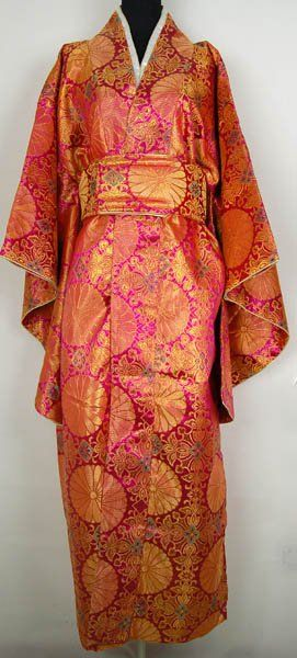Japanese Women's Satin Polyester Kimono in Hot Pink