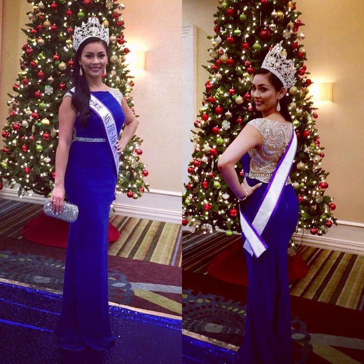 Fan Photo | Arias #winning at the Ms Filam USA! We're obsessed with the blue Clarisse 2729 Navy Crystal Cap Sleeve Dress for just a $110 Rental fee! Perfect crystal beaded pageant and prom gown. Great for any black tie events!