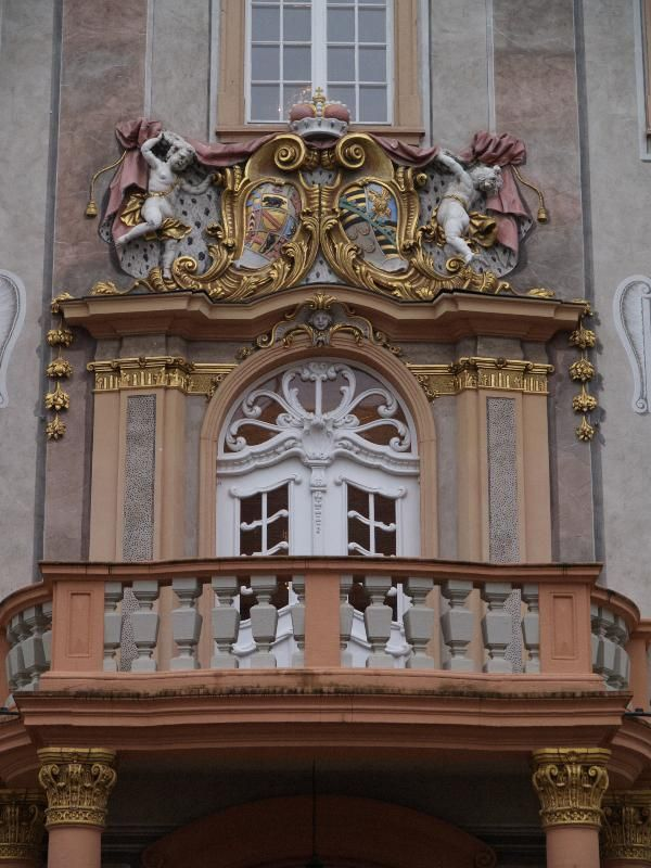 Ettlingen, Germany: Schloss (Castle): decoration over entrance (baroque, 1728-1732, master builder Johann Michael Ludwig Rohrer; restored 1978)