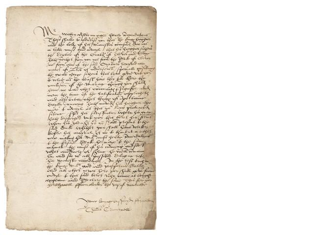 """CROMWELL (THOMAS) Letter signed and subscribed (""""Your lovyng assuryd ffreend/ Thomas Crumwell""""), to Dr Nicholas Wotton, English delegate to..."""