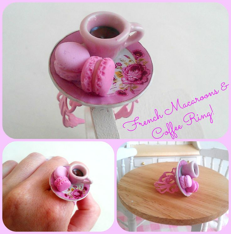 ''French macaron & coffee'' Ring -Realistic miniature macaron on a shabby chic plate!