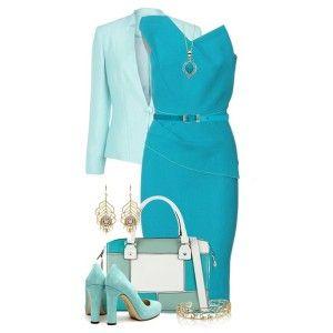 Голубые туфли под синее платье