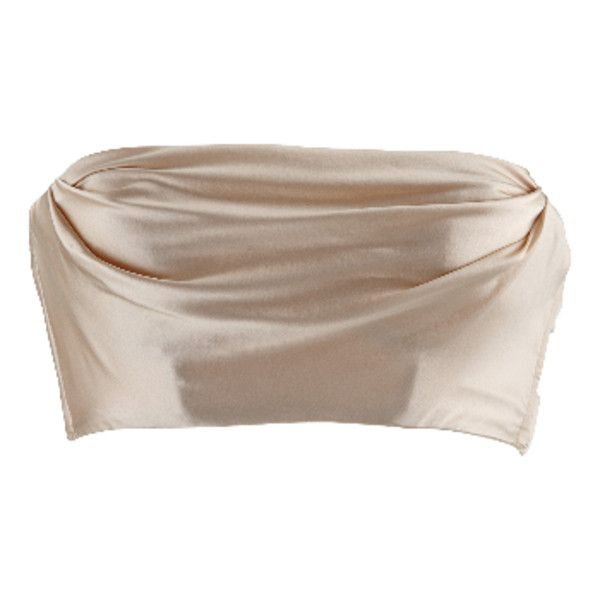 Dolci Follie Heiress Gold Silk Bandeau Bra ($230) ❤ liked on Polyvore featuring intimates, bras, underwire bra, strappy bras, halter-neck tops, longline underwire bra and gold halter top