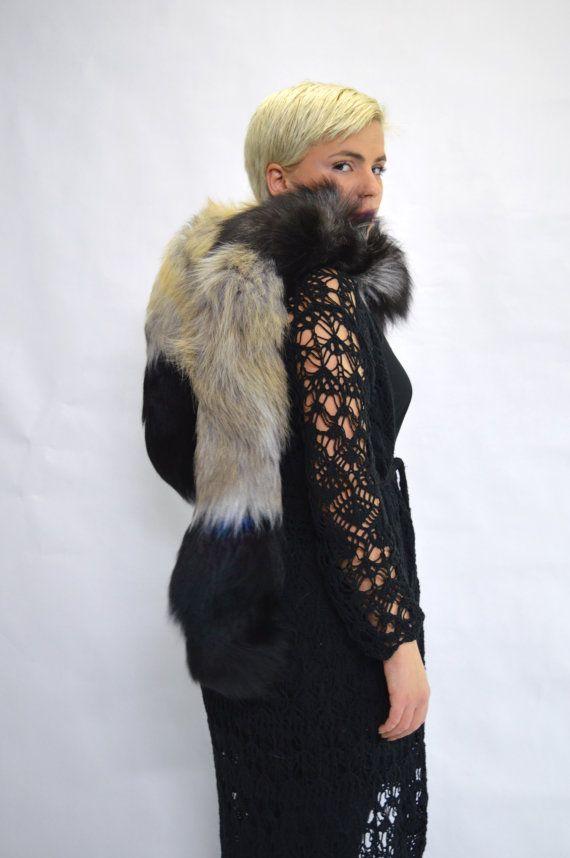 Real silver fox fur scarf  fur wrap collar fur pelt. by BeFur