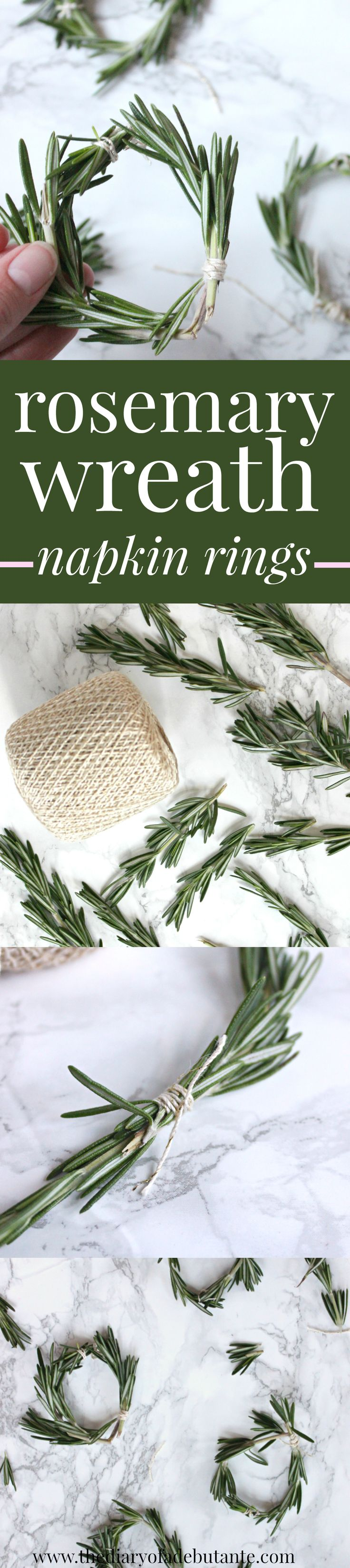 Rosemary wreath napkin ring tutorial. Such cute and easy-to-make fall table decorations! Would work well for Thanksgiving, Christmas, or any festive party!