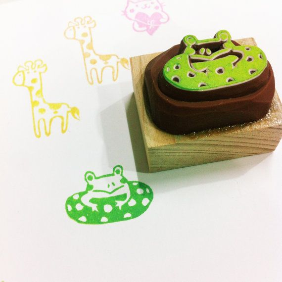 swimming frog rubber stamp by DeerdayShop