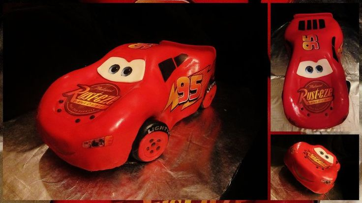 Lighting McQueen Cake, chocolate cake carved from 2 9x15 cakes with 1 8x8 for the roof. Stickers are edible images.