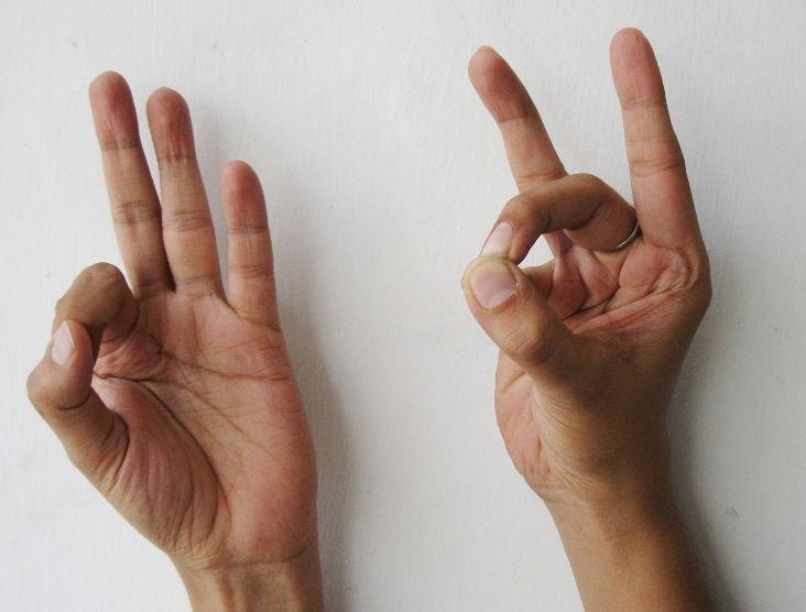 Back Mudra –para aliviar el dolor de espalda. Back Mudra funciona de manera efectiva para las personas con la espalda débil, viene a rescatar si se lesionó la espalda después de una actividad prolongada o sentado el día en una postura incorrecta. Mano derecha: El pulgar, el dedo medio y meñique estará en contacto, los otros dedos permanecerán extendidos. Mano izquierda: Coloca el pulgar conjunta en la uña de su dedo índice. Haga esto mudra de 4 a 5 minutos tres veces al día. (Lea más en mi…