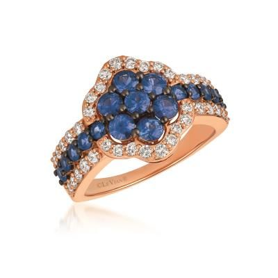 Sweet Denim Blues...love?  14K Strawberry Gold® Blueberry Sapphire™ 1 3/8 Cts. Ring with Nude Diamonds™ 5/8 Cts. YQZC 72
