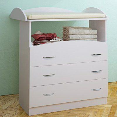 Infantastic Fasciatoio bambino fasciatoio cassettiera con 3 cassetti colore a scelta (bianco)