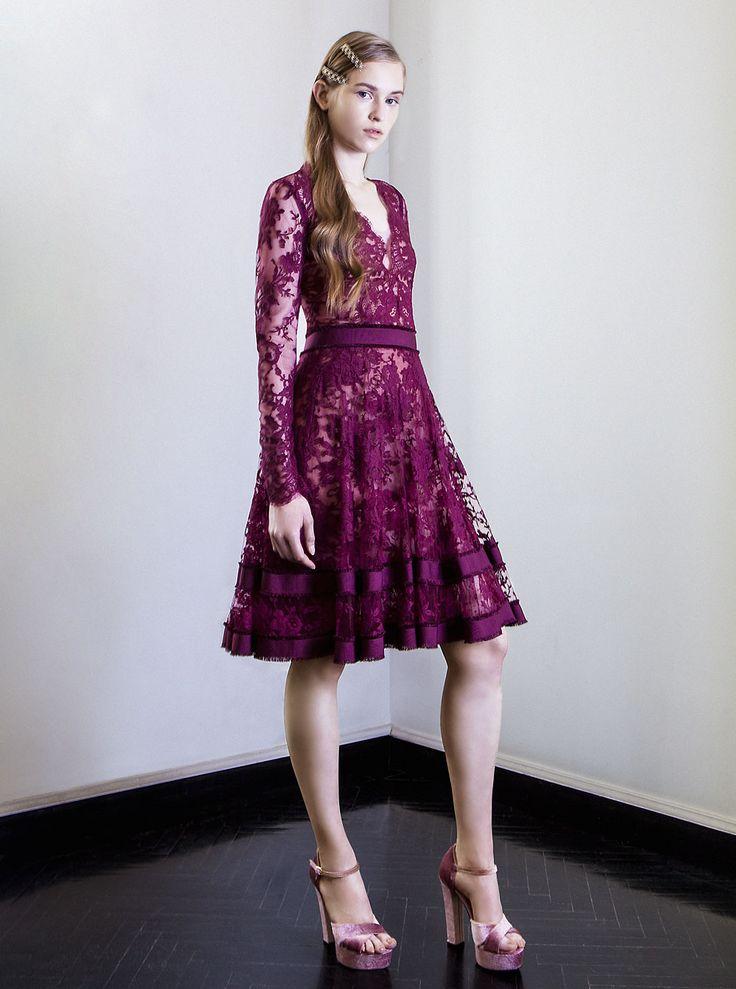 PR 1730  V-Neck Chantilly Lace Dress, Sangria Red