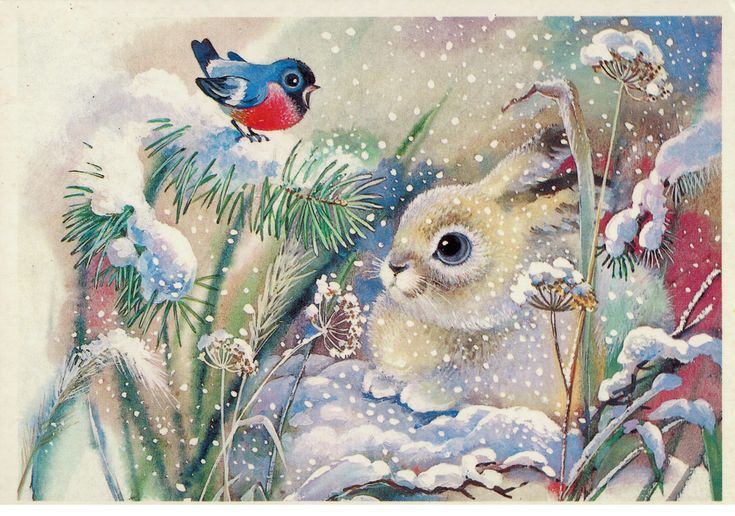 Happy New Year - cute little rabbit and bird in the snow - Postcard USSR 1988