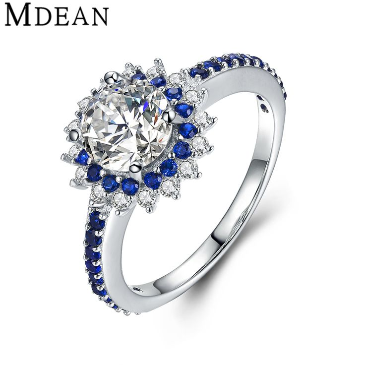 MDEAN Sapphire 925 Sterling Silver Jewelry Pure Solid Genuine Round CZ Diamond Engagement Rings for Women Wedding Bague MSR460