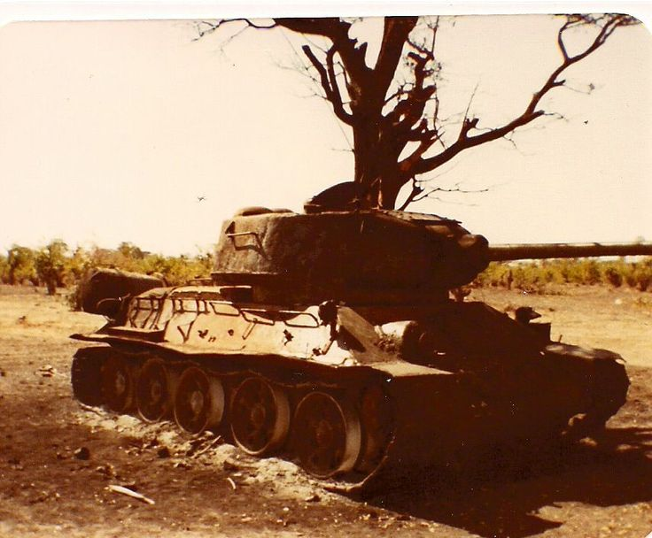 Angolan T-34/85M tank after destroyed by SADF units, South African Border War.