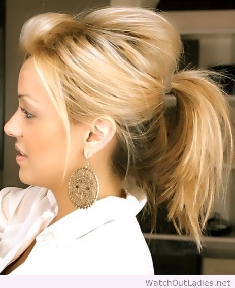 Messy cute ponytail hairstyl for medium hair