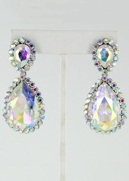 AB Crystal Silver Prom Earrings