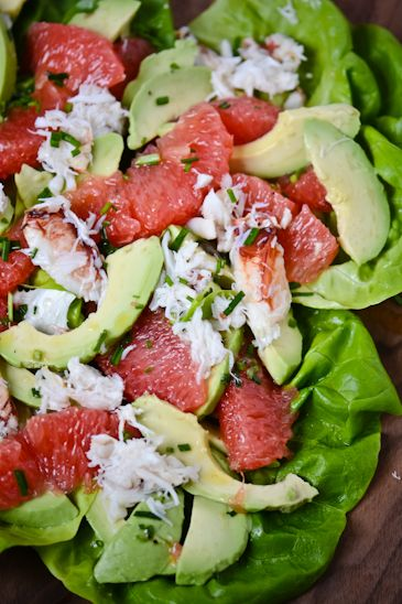 Grapefruit, Avocado & Crab Salad  Serves 4      2 pink grapefruits, segmented and juice reserved  2 teaspoons champagne vinegar  1 Tablespoo...