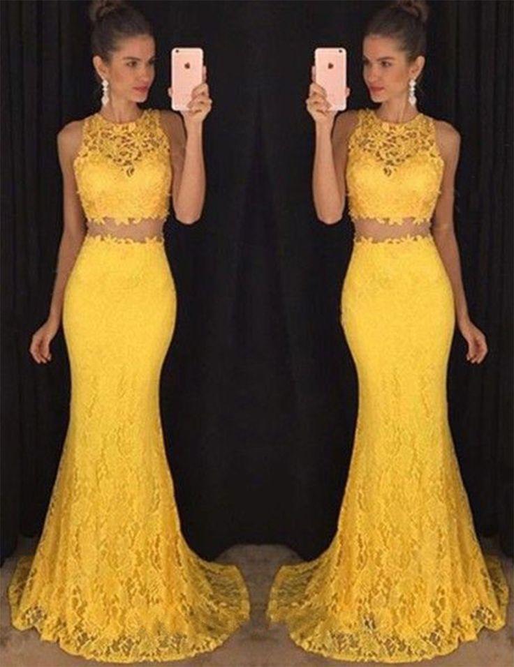 Vestito di pizzo giallo bella