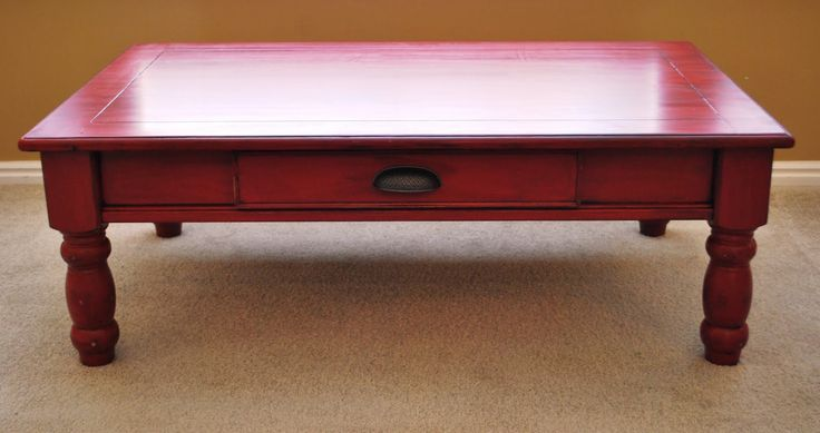 Painted coffee table i painted my coffee table red i for Painted coffee table ideas