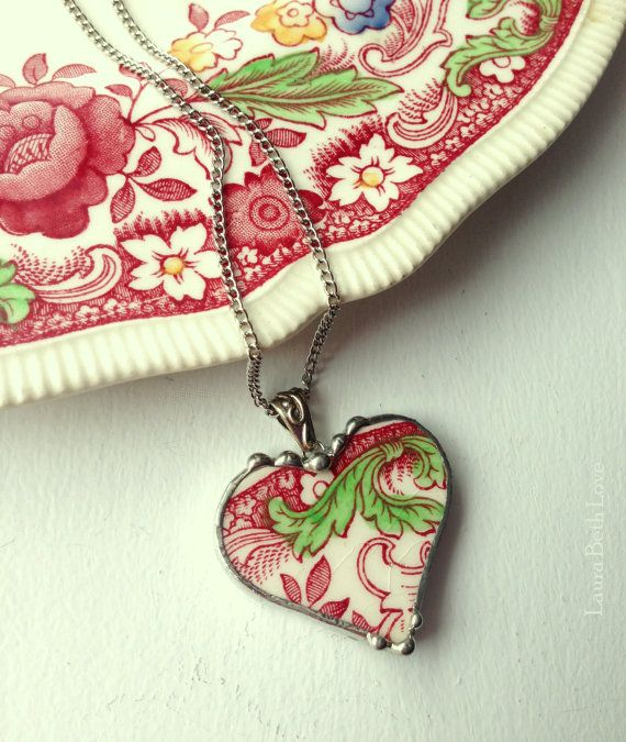 Broken china jewelry heart pendant antique English transferware red toile made from broken china