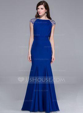 Mermaid Scoop Neck Floor-Length Chiffon Evening Dress With Beading (017025435)