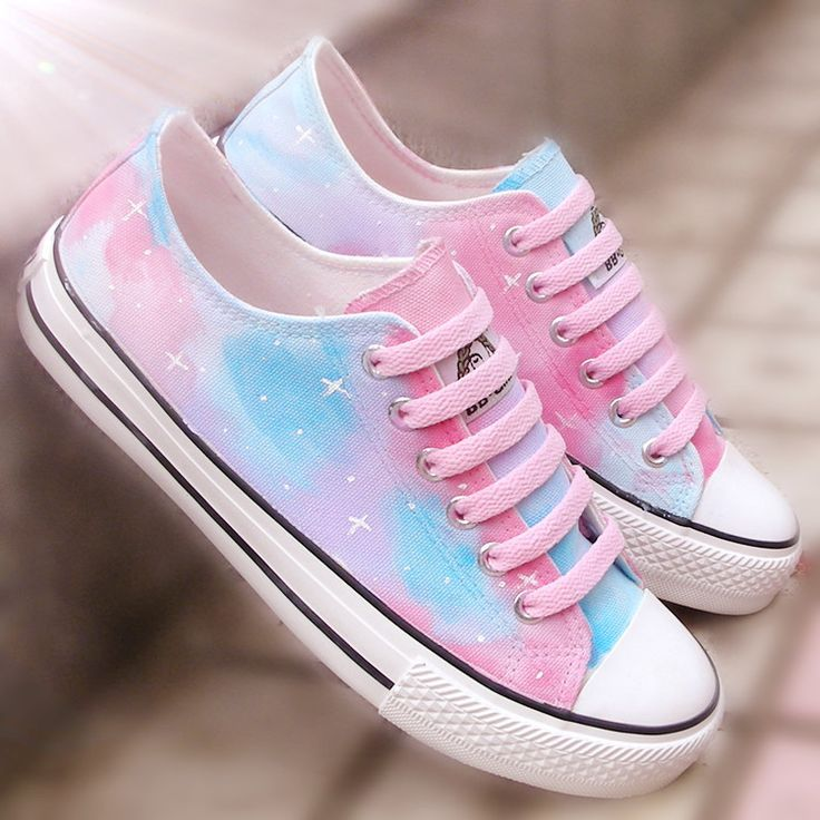 Harajuku starry sky hand painted canvas shoes from…