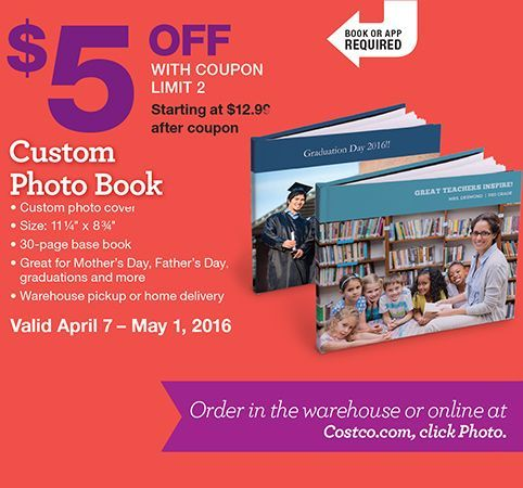 Costco Photo Center. Book or App required. $5 OFF with Coupon Limit 2, Starting at $12.99 after coupon. Custom Photo Book • Custom photo cover • Size: 11¼ x 8¾ • 30-page base book • Great for Mother's Day, Father's Day, graduations and more • Warehouse pickup or home delivery. $5 OFF with Coupon Limit 1, 25 Cards Starting at $12.25 after coupon. Custom Stationery Cards • Wedding, Graduation, Birth Announcements and Invitations • Includes envelopes • Order online at Costco.com, click Photo…