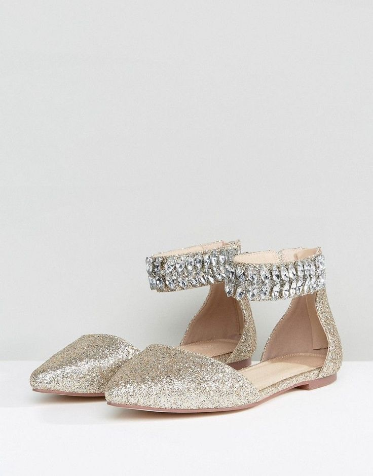 ASOS LILAC Wide Fit Embellished Pointed Ballet Flats - Gold