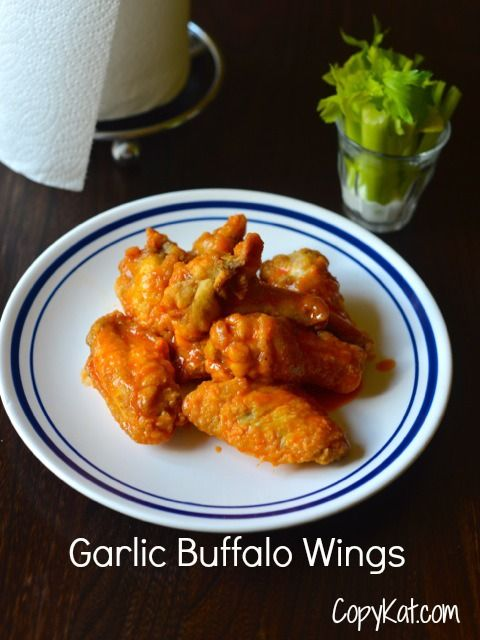 These Garlic Buffalo Wings taste just like Wings and Things.  Check out these easy to make Garlic Buffalo Wings from CopyKat.com
