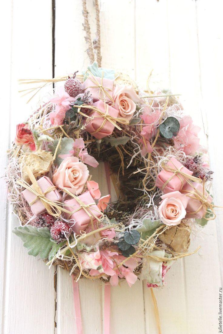 Купить Розовый интерьерный венок - розовый, розовый венок, венок на дверь, летний венок