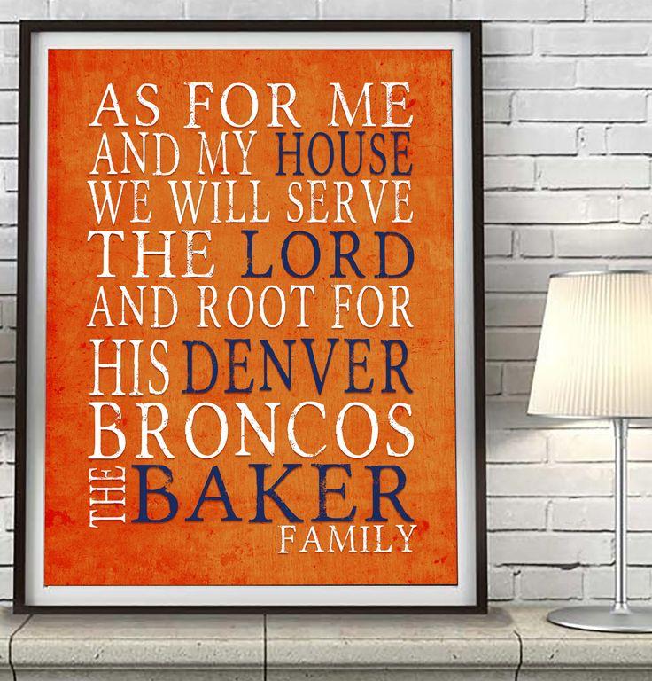 "Denver Broncos football Personalized ""As for Me"" Art Print"