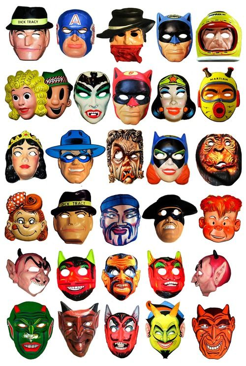 Vintage & Retro Halloween Masks: Dick Tracy / Captain America / Wonder Woman / Batman / Space Man / Bat Girl / Martian / Devil & More !