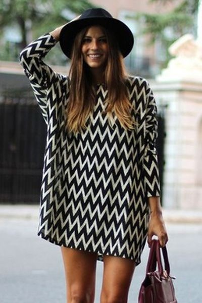 Wavy Striped Long Sleeve Dress