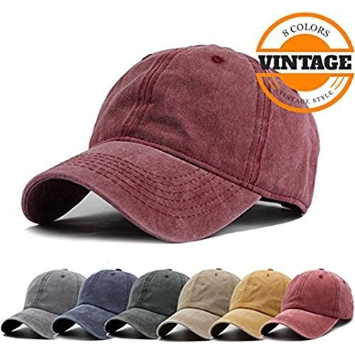 6a4ca26069f Unisex Vintage Washed Distressed Baseball Cap Twill Adjustable Dad Hat