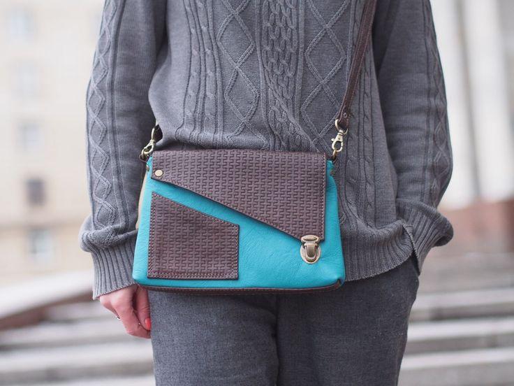 Купить Spring melody. Кожаная сумочка через плечо. бирюза и коричневый - сумочка через плечо
