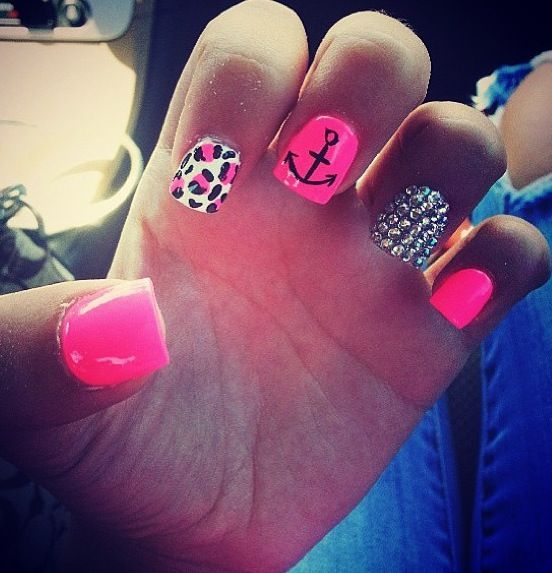 cute hot pink with anchor nails