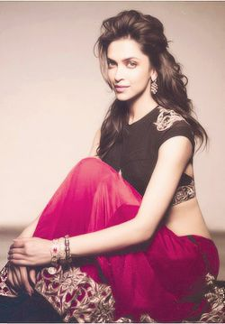 Deepika Padukone in pink and black lehenga