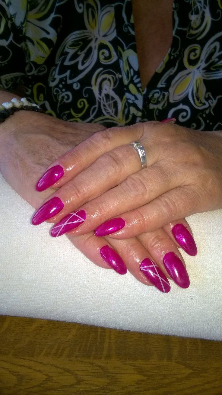 pink gel and white stripes