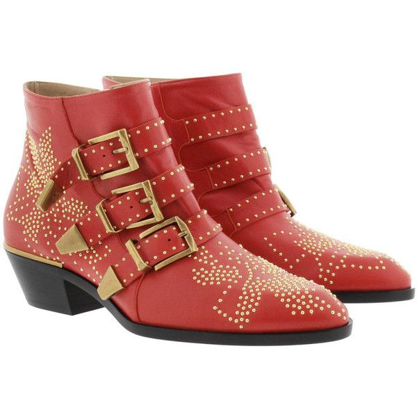 Chloé Boots & Booties - Susanna Nappa Boots Gipsy Red - in red - Boots... (£880) ❤ liked on Polyvore featuring shoes, boots, ankle booties, ankle boots, red, bootie boots, pointed-toe ankle boots, short boots, buckle ankle boots and floral booties
