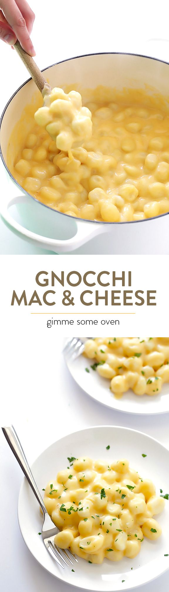Swap out chewy and delicious gnocchi in place of noodles to make this super tasty mac and cheese! With GF gnocchi, it's also naturally gluten-free. | gimmesomeoven.com