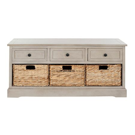 Perfect at the foot of your bed or as extra storage in the guest room, this classic vintage-gray storage bench features 3 drawers and 3 removable woven wicker -  like the color for other furnishings, as well