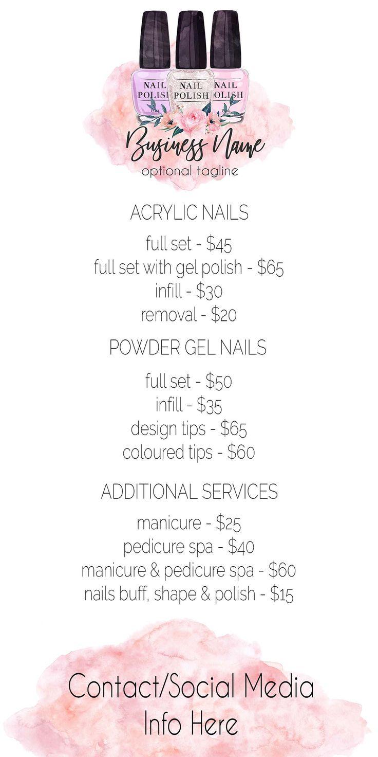 Nail Polish Price List, Nail Tech, Nail Technician, Salon