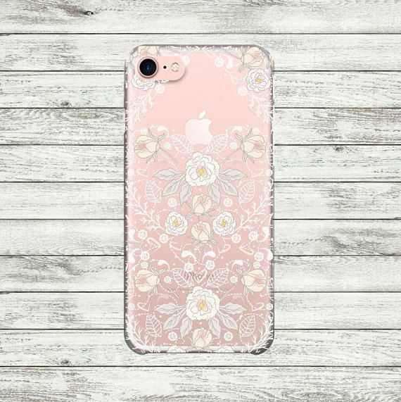 iPhone 7 case clear floral lace Plastic or Silicone iPhone 6
