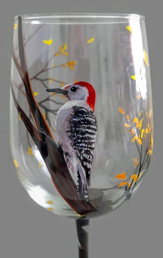 Woodpecker Hand Painted Bird Wine Glass by LKCustomCreations