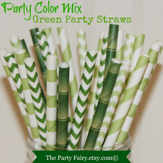 Paper Straws 25 Green Party MIx Paper Drinking by ThePartyFairy