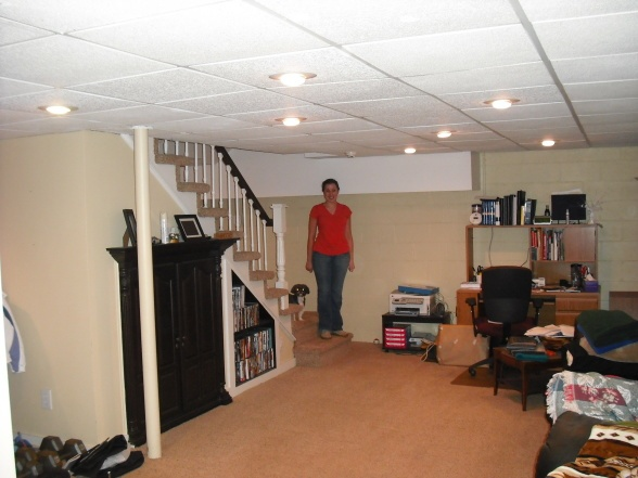 Basement With Painted Cinderblock Walls And Ceiling Find This Pin More On Remodel Ideas