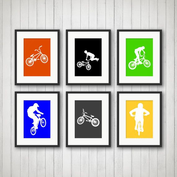 BMX Art  Bike Rider Print Teen Room Nursery by SimplyLoveCreations